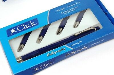Click Straight Cut Blue Calligraphy Lettering Fountain Pen Set With 4 Nibs