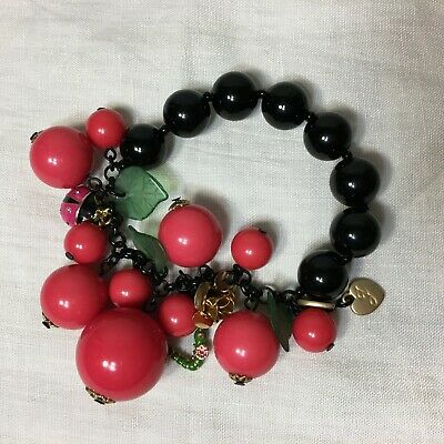 Red Or Multicolor Crystal Ladybug Stretch Bracelet Made With Swarovski Elements Fashion Jewelry