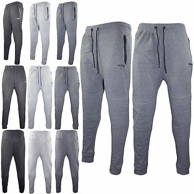 Mens Slim Fit Jogging Bottoms Fleece Sweats Skinny Pants Rib Patch Gym Trousers