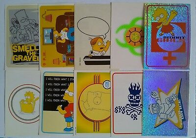 Vintage 1999 The Simpsons Springfield Panini Collectible stickers x 10