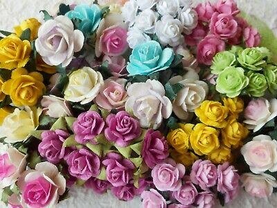 100! Beautiful Mulberry Paper Roses - Easter Colour Mix Rose Embellishments!