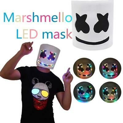 LED MarshMello DJ Mask Full Head Helmet Cosplay Shadow Party Bar Music Prop