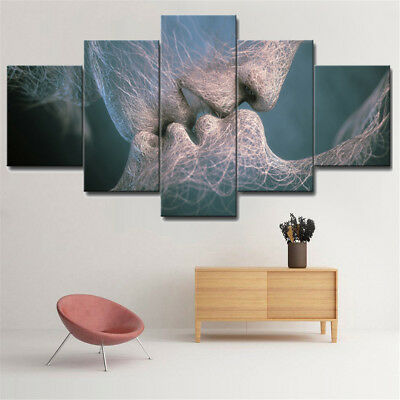5Pcs Love Kiss Canvas Print Painting Picture Wall Mural Hanging Decor Unframed !