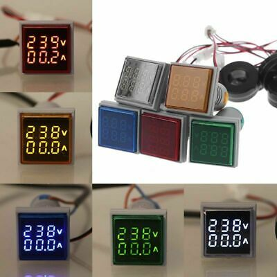 LED Dual Digital Display Square Voltmeter Ammeter Gauge Meter AC 50-500V 0-100A