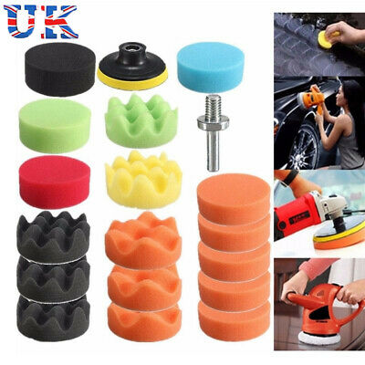 26Pcs Sponge Polishing Waxing Buffing Pads Kit Compound Auto Car + Drill Adapter