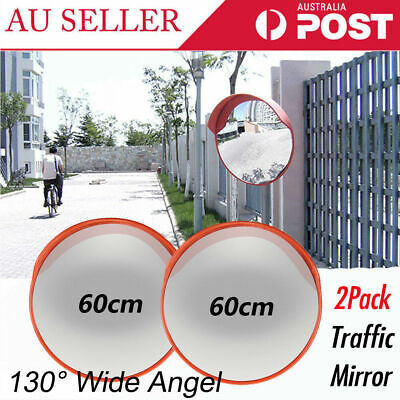 2x 60cm Wide Angle Convex Mirror Blind Spot Safety Mirror Traffic Shop Mirror