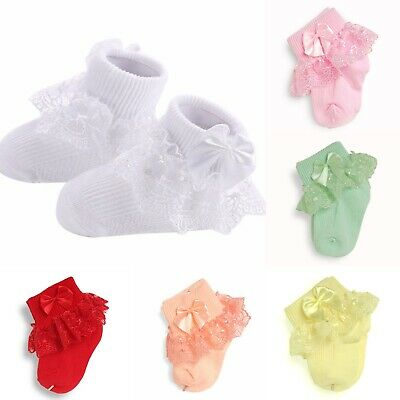 Infant Newborn Toddler Baby Girls  Frilly Bow Lace Tutu Short SocksAnkle Socks