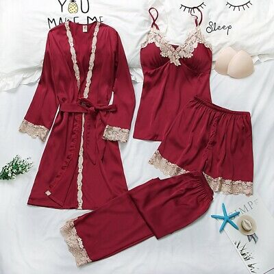Sexy Women Pajamas Lace Slik Sleep Lounge 4 Pieces Sets Embroidery Sleepwear Pj
