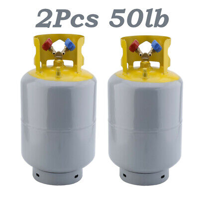 2Pcs 50lb Refrigerant Recovery Cylinder Steel 400PSI Refrigerant Reclaim Tank BR