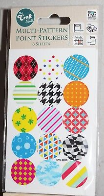 The Craft Stall Multi Pattern Point Round Stickers 6 Sheets Multi Colours