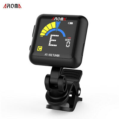 AROMA AT-102 Rechargeable Rotatable Clip-on Electronic Tuner Color Screen O8I7