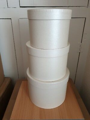 HAT BOXES SET OF THREE IN pearly Ivory / cream  FLOWER BOX FLOWERS fabulous
