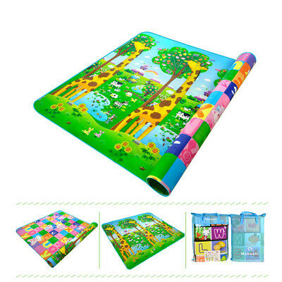 Kids Crawling 2 Side Baby Play Mat Educational Soft Foam Picnic Carpet 2*1.8M !