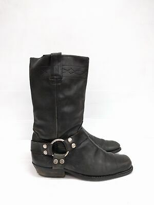 Size 10 Vintage Ladies Black Biker BILL MONTANA Leather  high boots