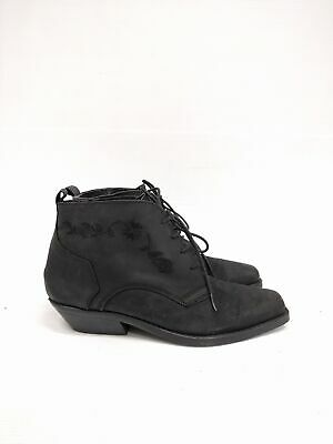 Size 38 Vintage Ladies Black Cowgirl Western Lace up Leather ankle boots
