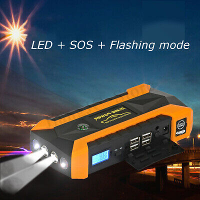 89800mAh 4 USB Car Jump Starter Pack Booster Charger Battery Power Bank LED
