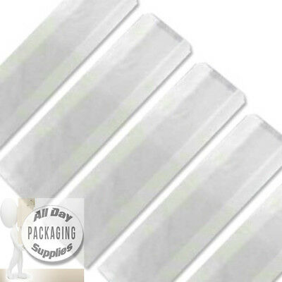 "1000 White Sulphite Paper Bags On String Size 6 X 4 X 14"" Baguette Sub Fruit"