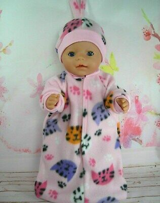 "Dolls clothes for 17"" Baby Born doll~KITTEN~CATS~PAWS~PINK SLEEPING BAG~HAT SET"