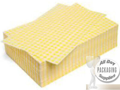 """6000 Sheets OF DUPLEX FOOD WRAPPING PAPER YELLOW GINGHAM Size 10x15"""" 45gsm"""
