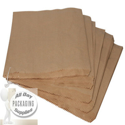 "100 Large Brown Paper Bags On String Size 12 X 12"" Fruit Veg Food Gift Strung"
