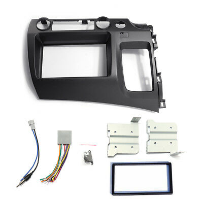 For 06-11 Honda Civic Taupe Radio Stereo Double 2 Din Dash Kit w/ Wiring