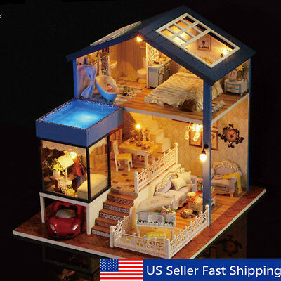 Seattle Cottage Dollhouse Miniature DIY Kit Dolls House with Furniture Kids