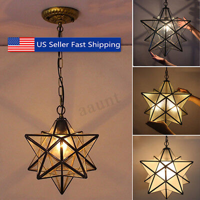 Moravian Star Glass Pendant Chandelier Light Modern Ceiling Lamp Fixture Decor !