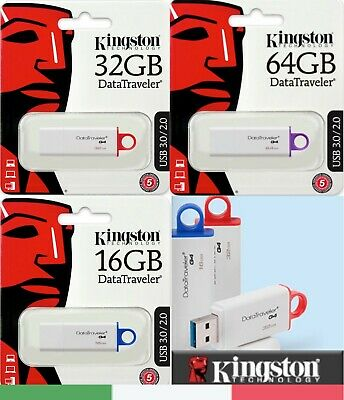 Pendrive Kingston G4 Chiavetta Usb 3.1 8Gb 16Gb 32Gb 64Gb 128Gb Memoria 3.0 2.0