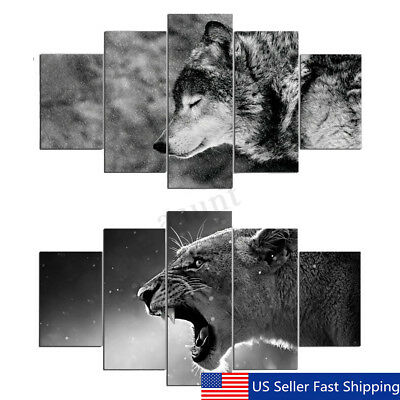 5Pcs HD Canvas Wolf Tiger Animal Painting Print Home Room Picture Art Wall