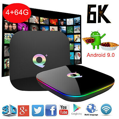 Q plus 6K 3D 4+64G Android 9.0 Quad Core Smart TV Box WIFI USB HDMI Media Player