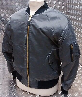 MA1 US Military Style Bomber Jacket MOD/Scooter/Bikers Black Stone Washed - NEW