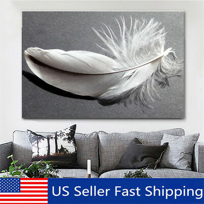 Feather Canvas Abstract Nature Grey White Landscape Wall Art Picture Home