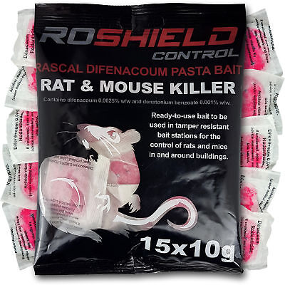 Roshield 15 Rodent Pasta Poison Sachets For Mouse Mice Rat Control - Bait Refill
