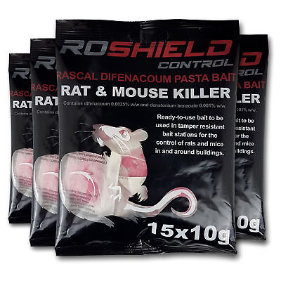 Roshield 60 Rodent Pasta Poison Sachets For Mouse Mice Rat Control - Bait Refill