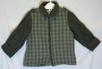Baby Boys Mexx Green Grey Check Smart Casual Long Sleeve Shirt Age 12-18 Months