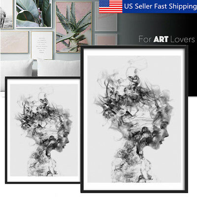 Modern Black&White Girl Canvas Print Painting Wall Art Picture Poster