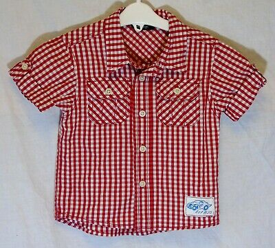Baby Boys George Red White Check Casual Short Sleeve Shirt Age 12-18 Months