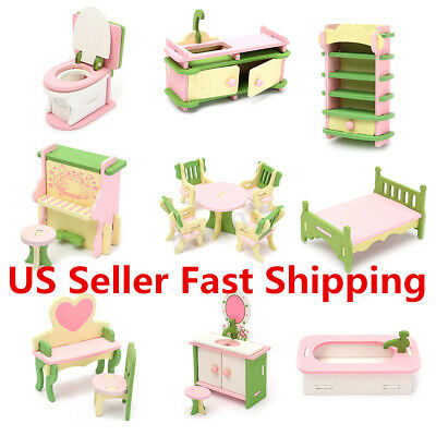 9 Set Doll House Miniature Bedroom Wooden Furniture Kids Role Pretend Play Toy !