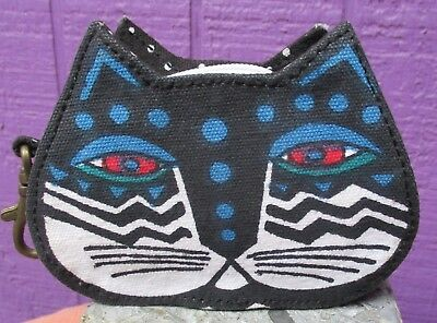 f9318c27679 Laurel Burch Black & White Cat Face Polka Dot Coin Purse Lobster Claw Clasp  NEW