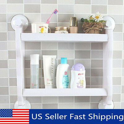 Kitchen Bathroom Shelf Suction Cup Rack Organizer Storage Shower Wall Basket