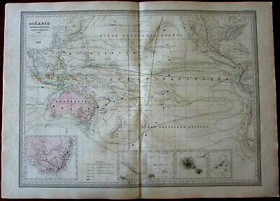 Oceania Australia w/ Gold regions 1857 Dufour scarce map Tooley #490 NSW
