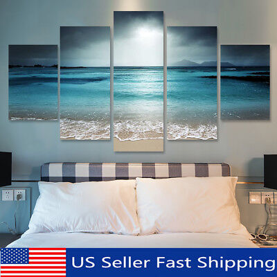 5Pcs Sunset Seaside Canvas Print Art Painting Home Decor Wall Picture Framed !