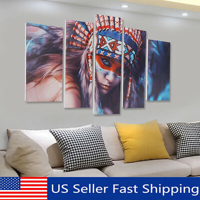 5Pcs Cool Indian Woman Canvas Print Painting Wall Picture Modern Home Art