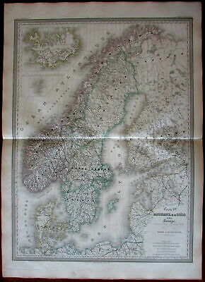 Denmark Norway Sweden Scandinavia 1858 fine old vintage antique hand color map