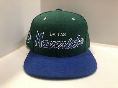 best service 8fb67 3ec43 Mitchell And Ness SnapBack Dallas Mavericks Script Hardwood Classics Green  Blue