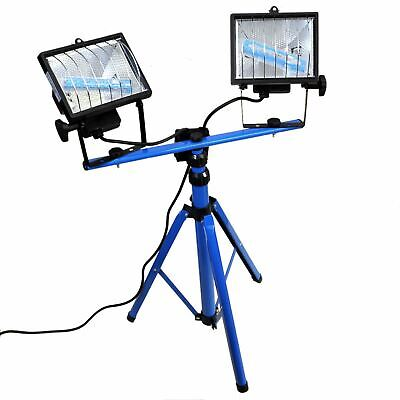 240V 500W Twin 2 Halogen Site Work Light Lamp Telescopic Tripod Stand Sil199