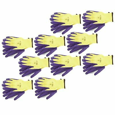 """10pk 8"""" Builders Protective Gardening Latex Rubber Coated Work Gloves Purple"""