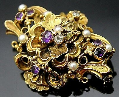 Edwardian Era Single Cut Diamonds Amethyst Pearl Floral 21K Yellow Gold Brooch