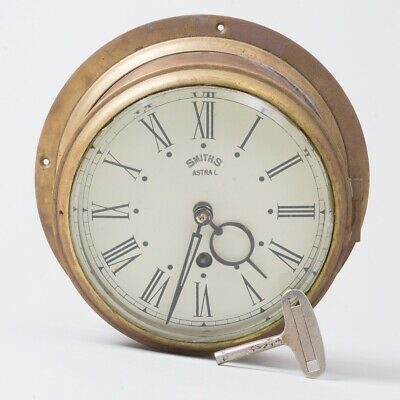 "Vintage Smiths Astral Brass Ship Captain's Clock Nautical 7.75"" Diameter Working"