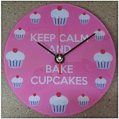 Keep Calm And Bake Cupcakes Wall Clock printed clear acrylic sweep action hands
